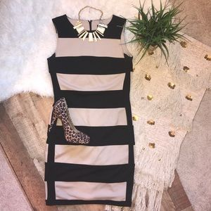 Ellen Tracy Tan and Black Color Block Sheath Dress